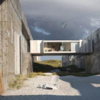 逼真的效果图描绘了一个在野生海边风景中的假想房屋